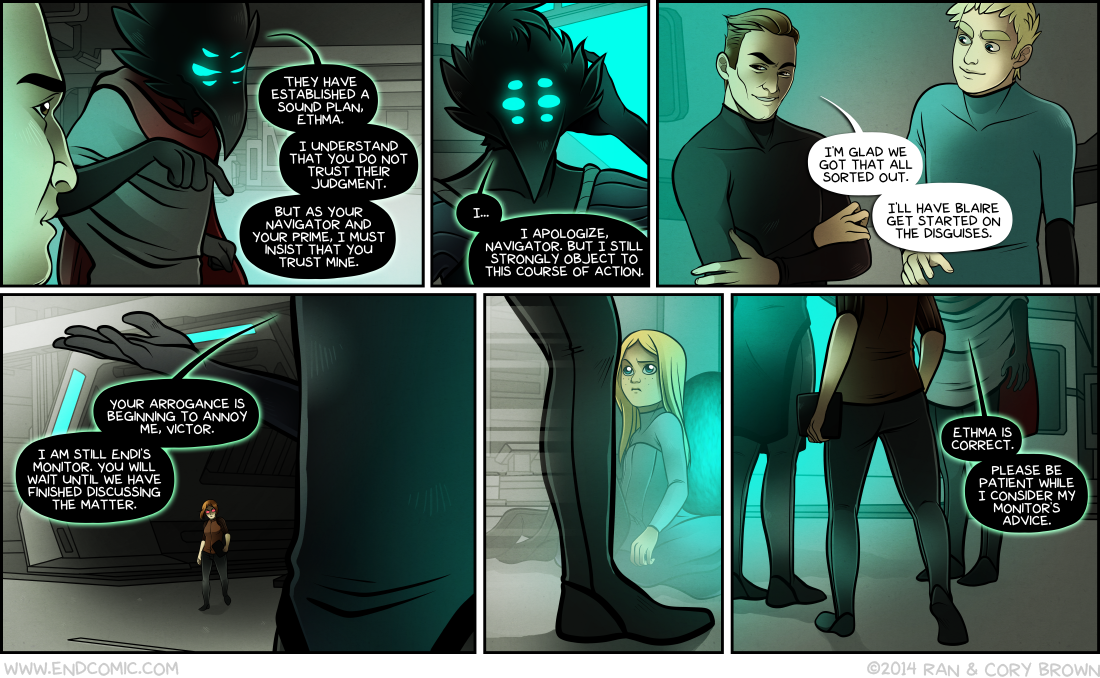 In Panel 1, Endi demonstrates his skills as a level 6 Warlock. He casts a Curse of Bewilderment on Ethma, but Victor intervenes with Improved Smuggery before he has a chance to press his advantage.