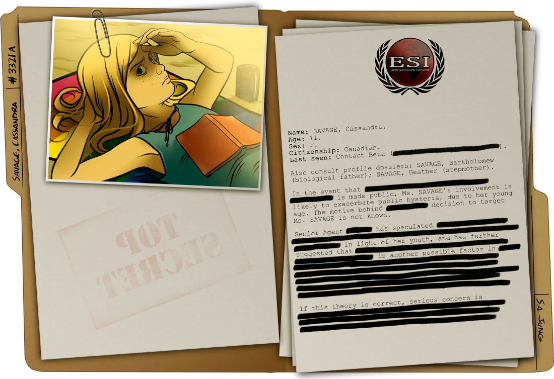 """Pictured: evidence that Cassandra SAVAGE may be an alien collaborator. Note the contemptuous stare and marked disinterest in familial bonding. Further, Agent Flagg's assertion that these are evidence of """"being a grieving eleven-year-old, you goddamn idiot"""" is both inappropriate and borderline seditious."""
